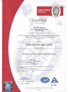 Certifikáty: tepelné a chemicko-tepelné zpracování kovů, management dle ČSN EN ISO 9001:2018