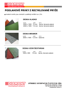 Podlahové prvky z recyklované pryže