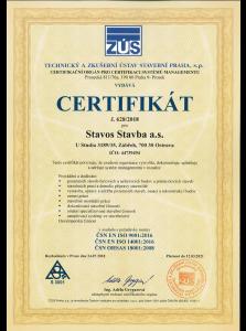 Certifikát Stavos Stavba a.s.