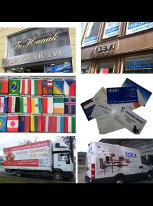 Služby-polepy výloh, výroba, potisk vlajek, vizitky, autoplachty, polepy aut