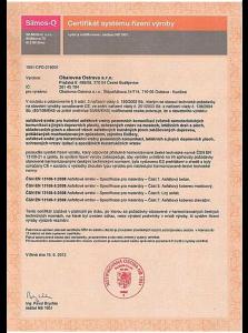 Certifikát systému řízení výroby