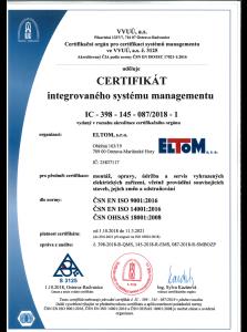 Certifikát integrovaného systému managementu