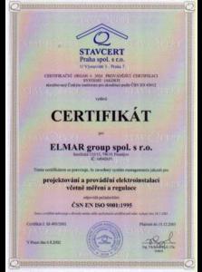 Certifikát systému jakosti ISO 9001