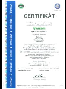 Certifikát na výrobu krmných směsí a premixů GMP+BCN-CEE