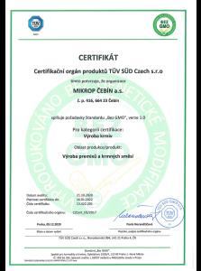 Certifikát pro výrobu krmiv bez GMO
