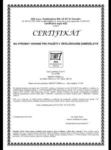 Certifikát na výrobky pro použití v ekologickém zemědělství