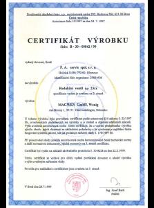 Certifikace na uzavírací ventily Magwen