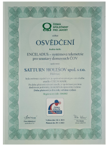 Osvědčení pro užívání zn. Czech Made pro službu Enceladus.