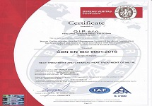 Certificate: heat treatment and chemical-heat treatment od metal, management ISO 9001:2018