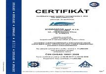 Certifikát Hydrospor spol. s.r.o.