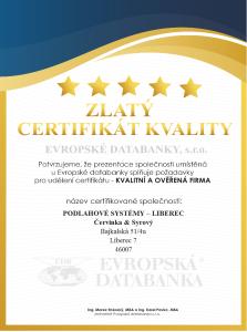 Certifikát kvality firmy